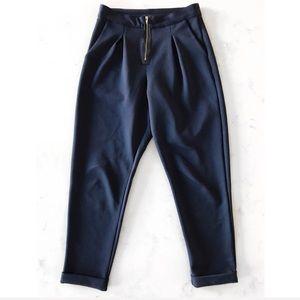 Pants - [Boutique] Neoprene Zip Front Slim Pant in Navy